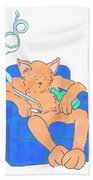 Cat Has Just Lost One Life Has Eight Lives Left Cartoon Beach Towel