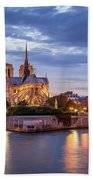 Cathedral Notre Dame And River Seine Beach Towel by Brian Jannsen
