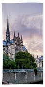 Cathedral Of Notre Dame From The Bridge - Paris France Beach Towel