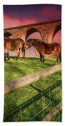 Cefn Viaduct Horses At Sunset Beach Towel