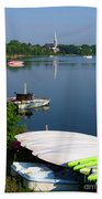 Chambly Basin And The Church Of St Joseph In Quebec Beach Towel