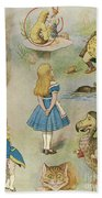 Characters From Alice In Wonderland  Beach Towel