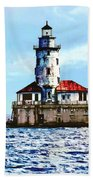 Chicago Il - Chicago Harbor Lighthouse Beach Towel