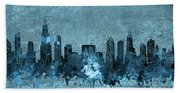 Chicago Skyline Vintage 4 Beach Towel