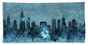 Chicago Skyline Vintage 4 Beach Sheet