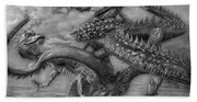 Chinese Dragons In Black And White Beach Towel