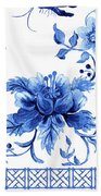Chinoiserie Blue And White Pagoda With Stylized Flowers Butterflies And Chinese Chippendale Border Beach Towel