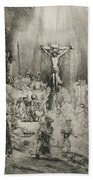 Christ Crucified Between The Two Thieves   The Three Crosses          Beach Towel