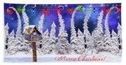 Christmas Card With Bird House Beach Sheet