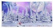 Christmas Card With Ice Skates Beach Towel