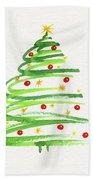 Christmas Tree With Decoration Beach Towel