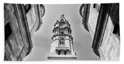 City Hall In Center City Philadelphia In Black And White Beach Towel