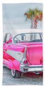 Classic Vintage Pink Chevy Bel Air  8x10 Scene Beach Sheet