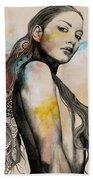 Cleansing Undertones - Zentangle Nude Girl Drawing Beach Towel