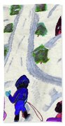 Climbing To The Top Of The Hill Beach Towel