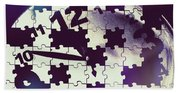 Clock Holes And Puzzle Pieces Beach Sheet
