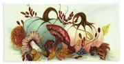 Color Me Autumn - Pumpkins And Mushrooms Beach Towel