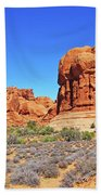 Colorado Arches Park Landscape Scrub Red Rocks Blue Sky 3335 Beach Towel