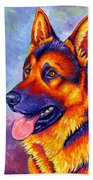 Colorful German Shepherd Dog Beach Towel