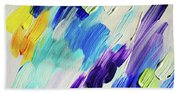 Colorful Rain Fragment 1. Abstract Painting Beach Towel