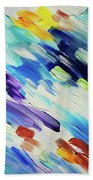 Colorful Rain Fragment 6. Abstract Painting Beach Towel