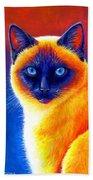 Colorful Siamese Cat Beach Sheet