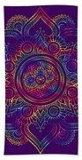 Colourful Rainbow Mandala Lavender Beach Towel