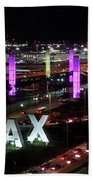 Coming And Going In The Heart Of L A At Night-time Beach Towel