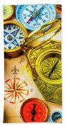 Compass And Compass Rose Beach Towel