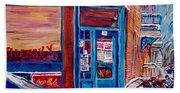 Corner Cafe Clark And Fairmount Wilensky's Winter Scene Habs Hockey Art C Spandau Quebec Artist Beach Towel