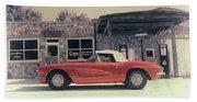 Corvette Cafe - C1 - Vintage Film Beach Towel