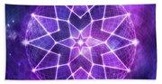 Cosmic Purple Geometric Seed Of Life Crystal Lotus Star Mandala Beach Towel