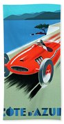 Cote D Azur, French Rivera Vintage Racing Poster Beach Sheet