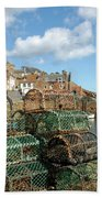 Crail Harbour And Lobster Pots Beach Towel