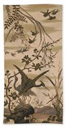 Cranes And Birds At Pond 1880 Beach Towel