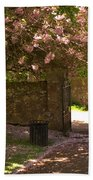 Crichton Church Entrance Gate And Tree In Pink Bloom Beach Towel