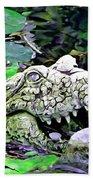 Crocodile Profile. Beach Towel