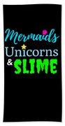 Cute Mermicorn Unicorn Mermaid Slime Birthday Beach Towel