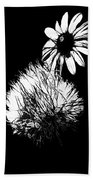 Daisy And Thistle Black And White Beach Towel