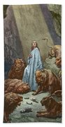 Daniel In The Den Of Lions  Engraving By Gustave Dore Beach Towel