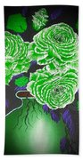 Dark And Delicious Roses  In Green Beach Towel