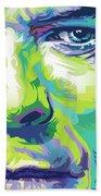 David Bowie Portrait In Aqua And Green Beach Sheet