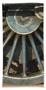 Detail Of Locomotive Wheel With Spokes Beach Towel