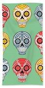 Dia De Muertos Skulls Beach Towel