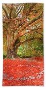 Digital Watercolor Painting Of Beautiful Autumn Fall Nature Fair Beach Towel
