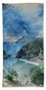 Digital Watercolor Painting Of Beautiful Dramatic Sunrise Landsa Beach Towel