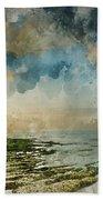 Digital Watercolor Painting Of Beautiful Landscape Panorama Suns Beach Towel