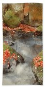 Digital Watercolor Painting Of Blurred Water Detail With Rocks N Beach Towel
