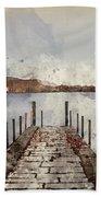 Digital Watercolor Painting Of Landscape Image Of Derwent Water  Beach Sheet