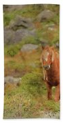 Digital Watercolor Painting Of Stunning Image Of Wild Pony In Sn Beach Sheet